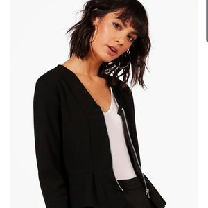 Peplum Zip Up Blazer